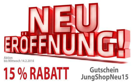 15 Prozent Rabatt zur Shop-Eröffnung mit Gutschein JungShopNeu15