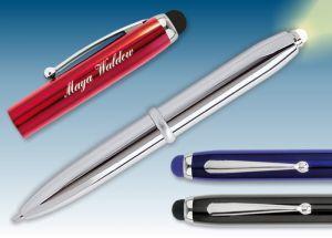 LED-Kugelschreiber Blau-Metallic