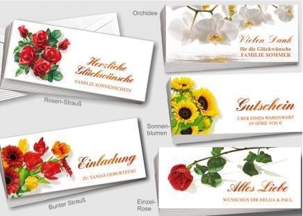 50 Blumen-Briefkarten Rosen-Strauß