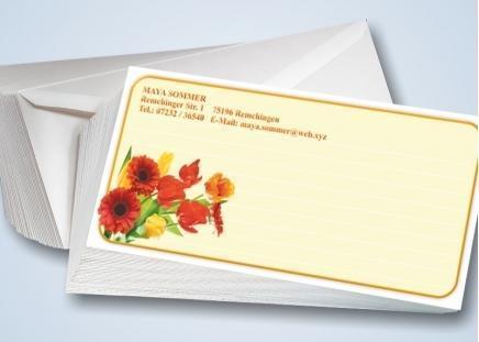Blumenstrauß-Briefkarten mit Umschlägen 50 Stück