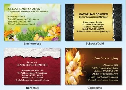 100 Motiv Visitenkarten Goldblume