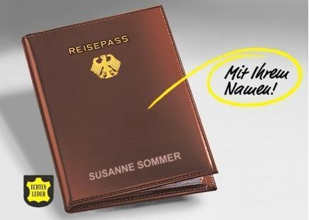 Reisepass-Hülle mit Ihrem Namen MIT Bundesadler