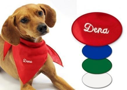 Hunde-Halstuch mit Namen Rot