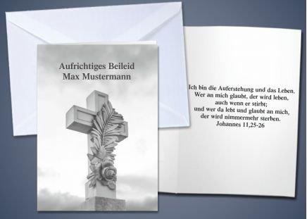 """20 Trauer-Klappkarten """"Steinkreuz"""""""