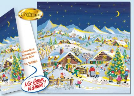 """Weihnachtskarte """"Bergdorf"""" 50 Stück"""