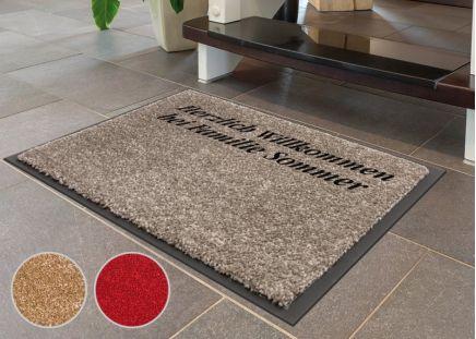 Fußmatte mit Wunschtext Hellgrau