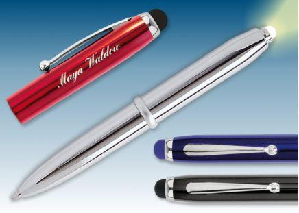 LED-Kugelschreiber Rot-Metallic