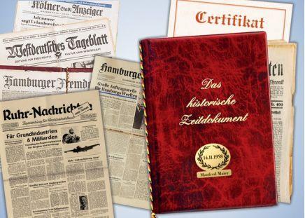 Original Zeitung vom ... Mit Namensschild