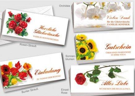 50 Blumen-Grußkarten Rosen-Strauß