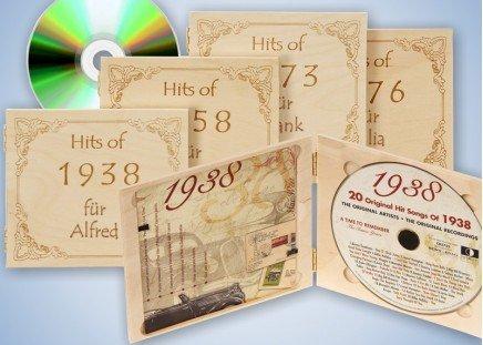 Jahrgangs-Musik-CD in Holzkassette mit Namen