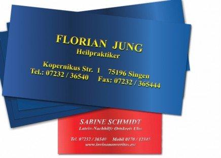 100 Präge-Visitenkarten Chromolux Rot/Silber-Metallic