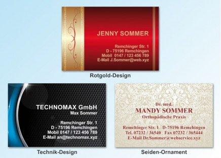 100 Motiv Visitenkarten Rotgold-Design