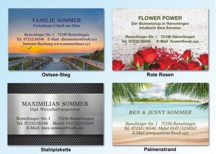 100 Motiv Visitenkarten Stahlplakette