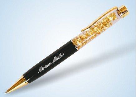 Kugelschreiber Goldblättchen