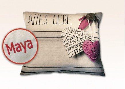 """Zirbenholz-Kissen """"Alles Liebe"""""""