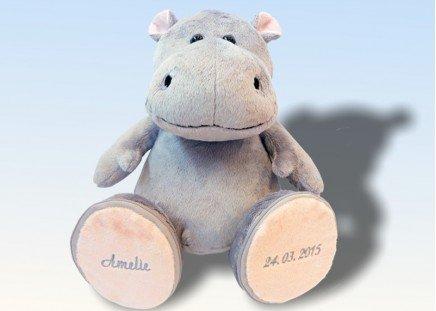 """Plüschtier """"Hippo"""" mit bestickten Sohlen"""
