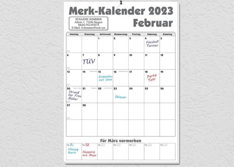 Merk-Kalender 2018