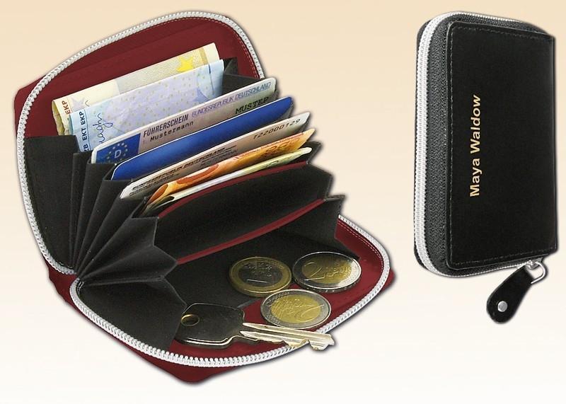 RFID-Lederbörse Reißverschluss Rot