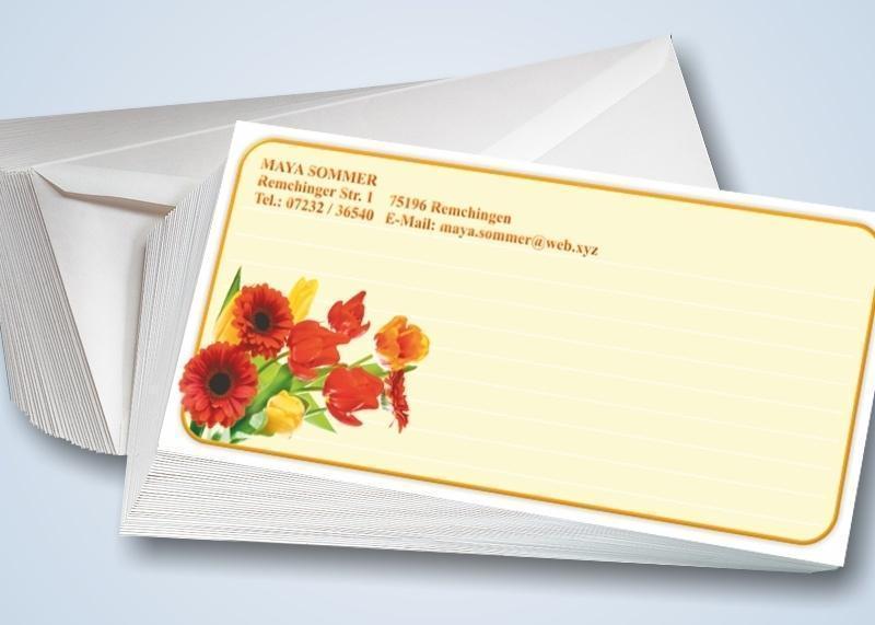 Blumenstrauß-Briefkarten mit Umschlägen