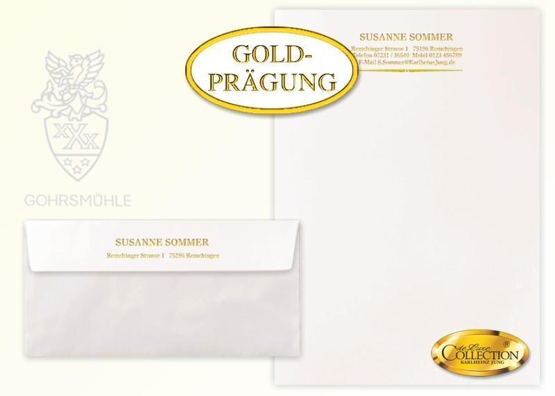 De-Luxe Briefpapier Gold-Prägung