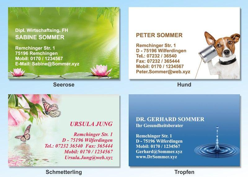100 Motiv Visitenkarten Schmetterling