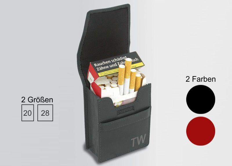 Zigaretten-Etui Leder Schwarz, Classic