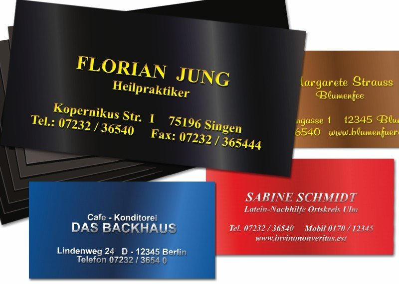 100 Präge-Visitenkarten Chromolux Schwarz/Gold-Metallic
