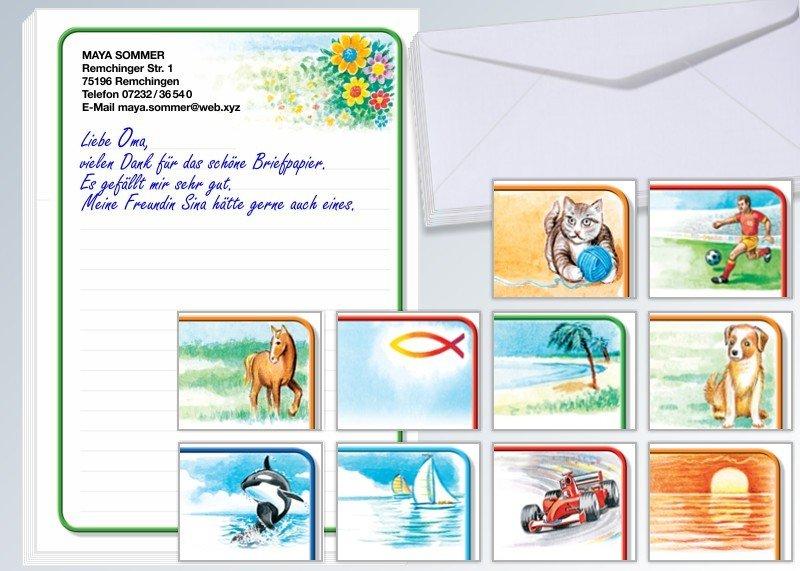 Motiv-Briefpapier 100 Blatt u. 100 Umschläge Pferd