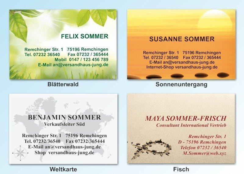 100 Motiv Visitenkarten Blätterwald