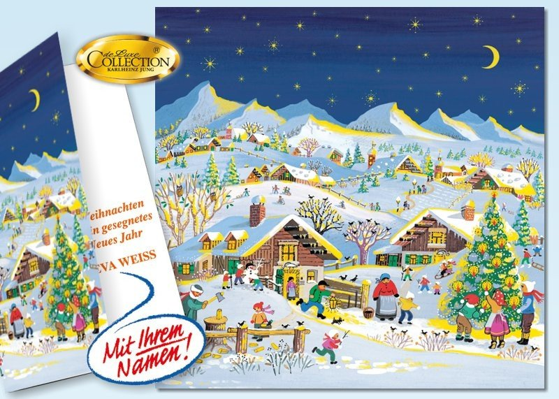 """Weihnachtskarte """"Bergdorf"""" 20 Stück"""