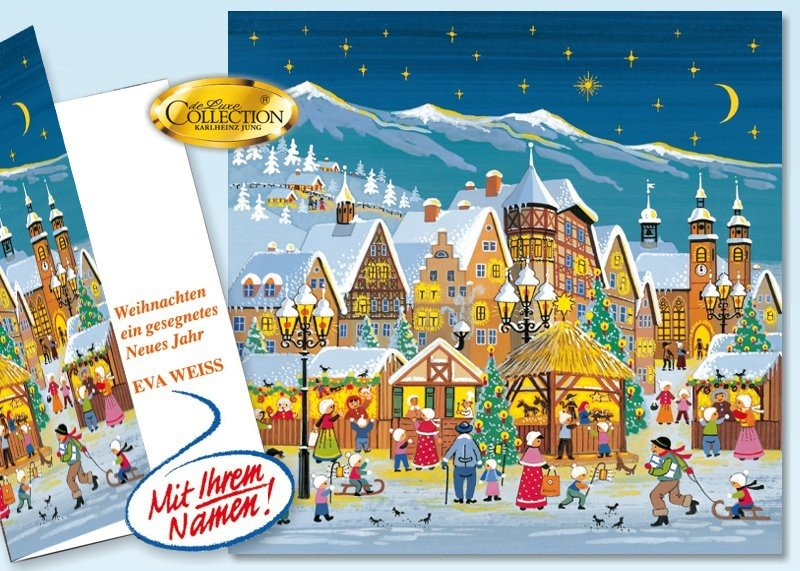 """Weihnachtskarte """"Marktplatz"""" 30 Stück"""