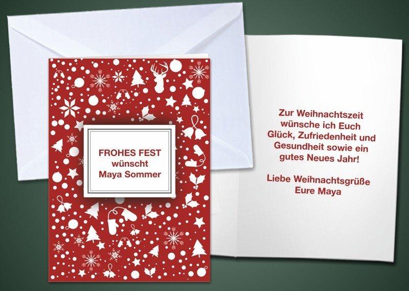 """20 Weihnachts-Klappkarten """"Dekor Rot"""""""