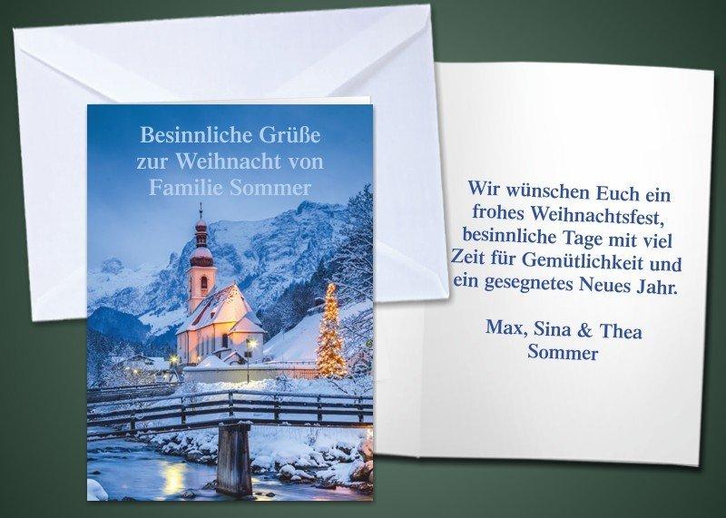"""20 Weihnachts-Klappkarten """"Kirche Ramsau"""""""