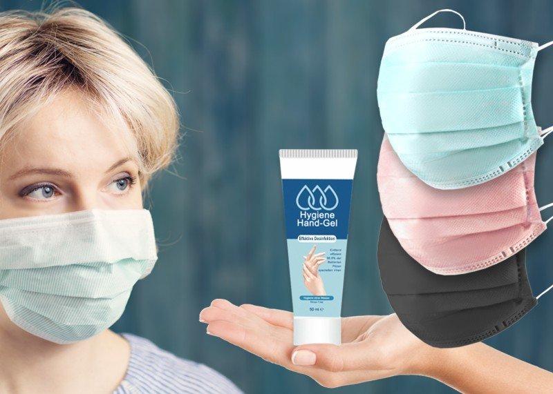 Spar-Set: 10 Einweg-Masken + Handgel