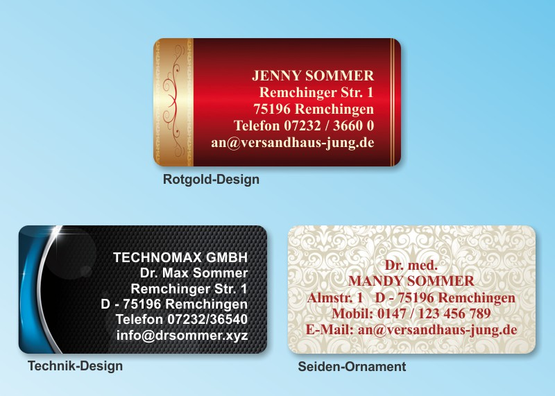 168 adressaufkleber maxi motiv rotgold design for Design versandhaus
