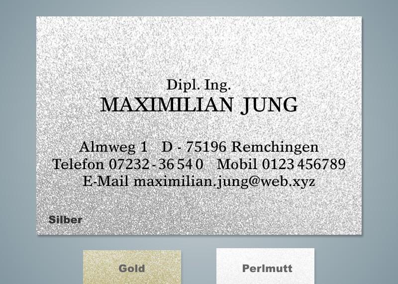 100 Visitenkarten Metallic Versandhaus Jung